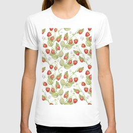 Seamless texture Summer strawberries, juicy berries on a white background. T-shirt