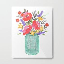 Floral Bouquet Jar Vase Metal Print