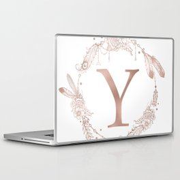Letter Y Rose Gold Pink Initial Monogram Laptop & iPad Skin