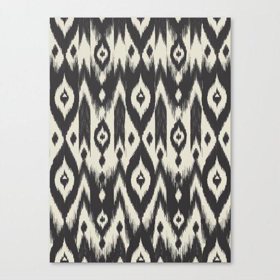 Black & Cream Tribal Ikat Canvas Print
