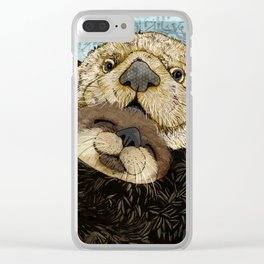 Sea Otter Mother and Baby Clear iPhone Case