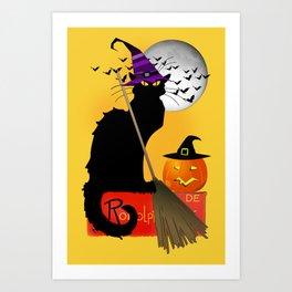 Le Chat Noir - Halloween Witch Art Print