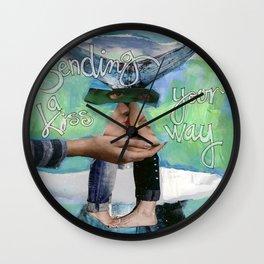 Sending A  Kiss Your Way Wall Clock
