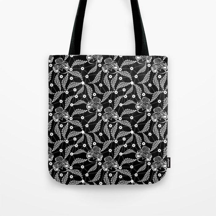 White vintage lace . Tote Bag