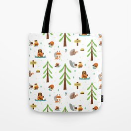 Woodland Campers Pattern Tote Bag