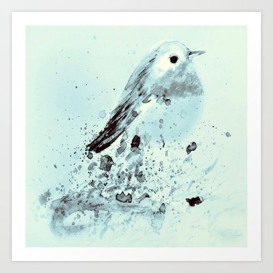 Robin in blue Art Print