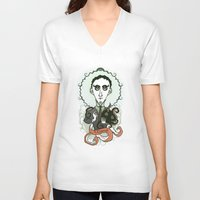 lovecraft V-neck T-shirts featuring Lovecraft Holy Writer by roberto lanznaster