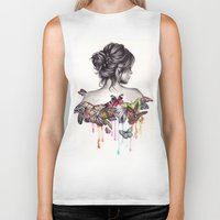 watercolor Biker Tanks featuring Butterfly Effect by KatePowellArt