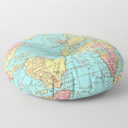 Map of the World Floor Pillow