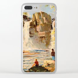 Mid Century Modern Vintage Travel Poster England Landscape Rocky Waterfall Clear iPhone Case