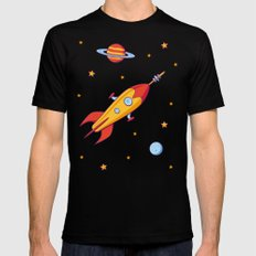 Spaceship! MEDIUM Black Mens Fitted Tee