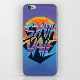 """Outrun 1980s Poster """"Synthwave"""" Text iPhone Skin"""