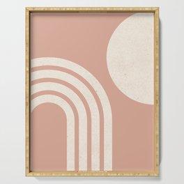 Mid Century Modern Dust Pink Sun & Rainbow Serving Tray