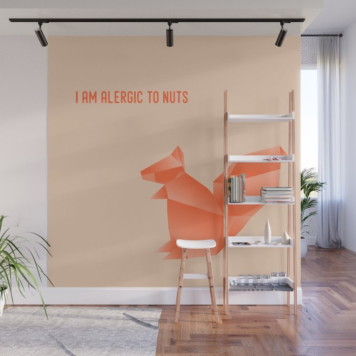 Allergic to Nuts - Origami Orange Squirrel Wall Mural