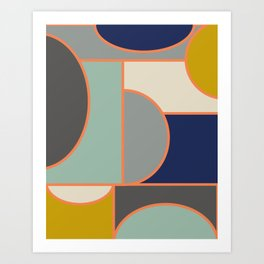 Colorful Geometric Cubism Design Art Print