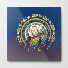 New Hampshire State Flag with Audience Metal Print