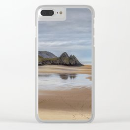 Reflections of Three Cliffs Bay Clear iPhone Case
