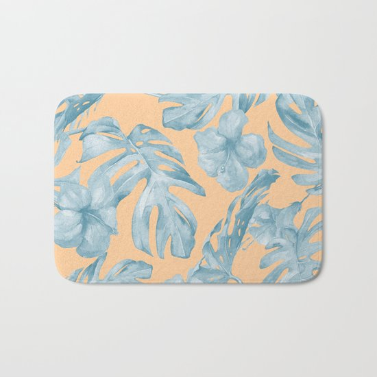 Island Sunrise Hibiscus Palm Orange Ocean Blue Bath Mat