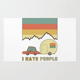 I Hate People Humans Holiday Sloth Camper Camping Design Rug