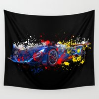 sport Wall Tapestries featuring sport car by mark ashkenazi