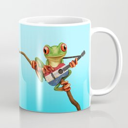 Tree Frog Playing Acoustic Guitar with Flag of The Netherlands Coffee Mug