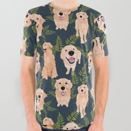 Golden Retrievers and Ferns on Navy All Over Graphic Tee