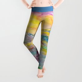 Sunset in the mountains. Watercolor painting Leggings