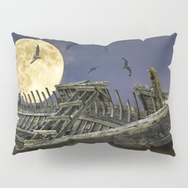 Moon and Wooden Shipwreck with Gulls Pillow Sham