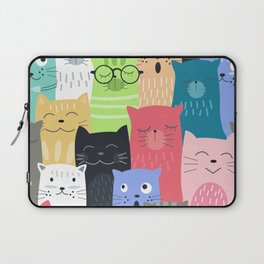 Cute and Colorful Clowder of Cats Pop Art Pattern Design Laptop Sleeve