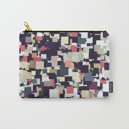 vintage geometric square pixel pattern abstract background in brown blue green orange Carry-All Pouch