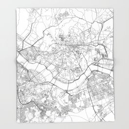 Seoul White Map Throw Blanket