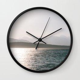 Foggy mountains in Tromsø, Norway    Fine art travel photography pastel scandinavian minimalistic Wall Clock