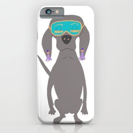 Weim in Holly's Aqua Sleeping Mask Grey Ghost Weimaraner Dog Hand-painted Pet Drawing iPhone Case