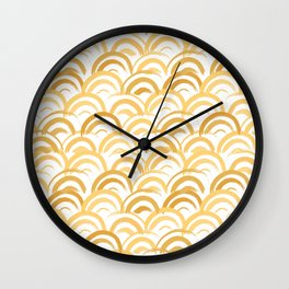 Watercolor Arches in Gold Wall Clock