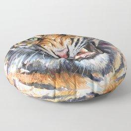 Tiger Roaring Wild Jungle Animal Floor Pillow