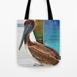 Dockside Pelican by Barbara Chichester Paintographer Tote Bag