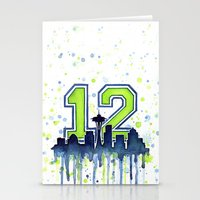 seahawks Stationery Cards featuring Hawks 12th Man Fan Art by Olechka