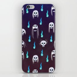 skulls with hair pattern iPhone Skin