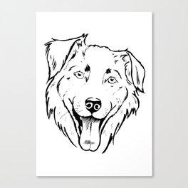 Portrait of a cheerful shaggy dog Canvas Print