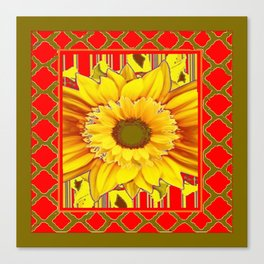AVOCADO COLOR RED YELLOW SUNFLOWER ART Canvas Print