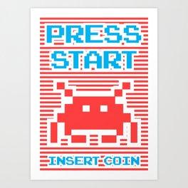 Press Start, Insert Coin (red version) Art Print