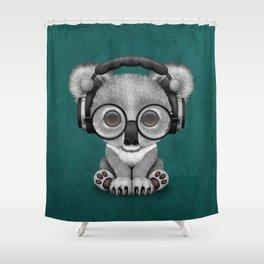 Cute Baby Koala Bear Dj Wearing Headphones on Blue Shower Curtain
