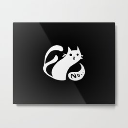 Spooky white cat two tails saying no black and white Metal Print