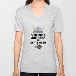 Vikings are born in September T-Shirt Dmnk2 Unisex V-Neck