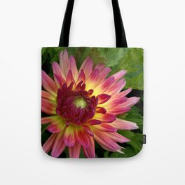 Purple Dahlia with leaves 68 Tote Bag