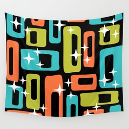 Retro Mid Century Modern Abstract Pattern 222 Orange Chartreuse Turquoise Wall Tapestry
