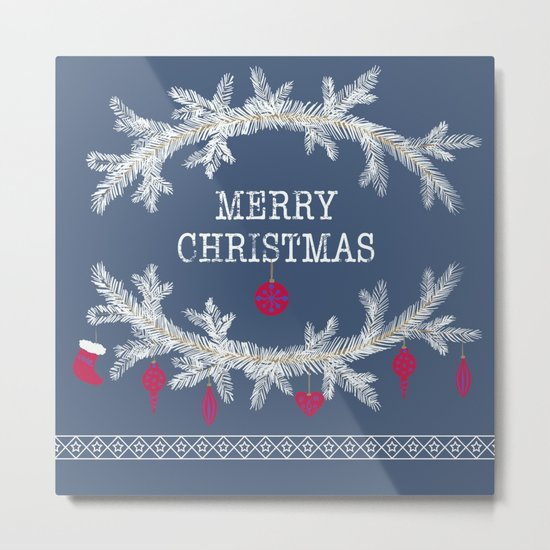 Merry christmas and happy new year greeting card wreath background Metal Print