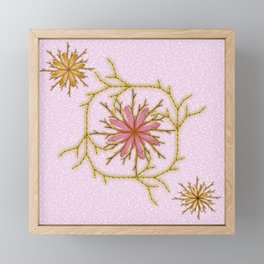 Pink flowers with gold filagree Framed Mini Art Print