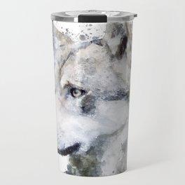 Watercolor wolf Travel Mug