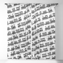 Black and White Wooden Toy Trains Pattern Sheer Curtain